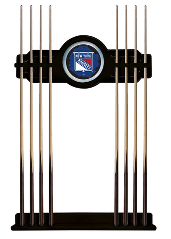 New York Rangers Cue Rack in Black Finish by Holland Bar Stool; UPC: 071235436094