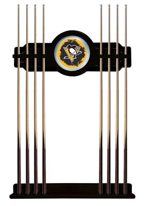 Pittsburgh Penguins Cue Rack in Black Finish by Holland Bar Stool; UPC: 071235436124