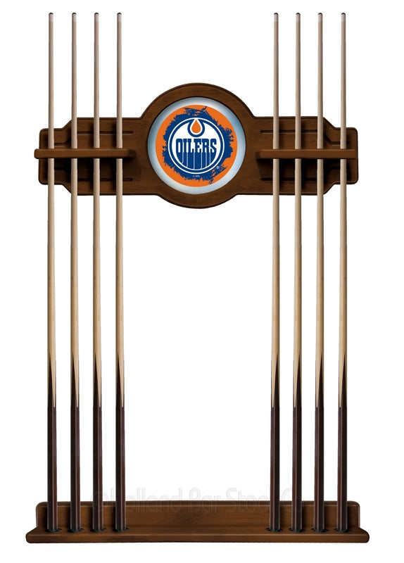 Edmonton Oilers Cue Rack in Chardonnay Finish by Holland Bar Stool; UPC: 071235436315