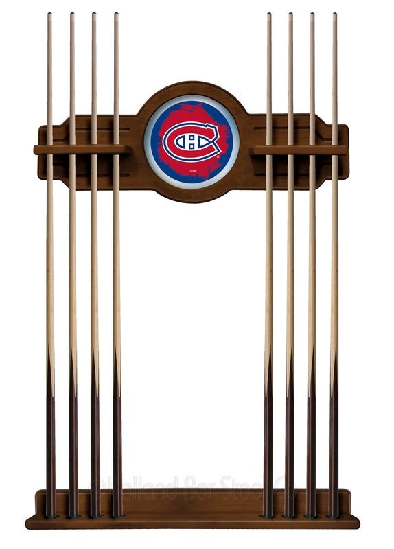Montreal Canadiens Cue Rack in Chardonnay Finish by Holland Bar Stool; UPC: 071235436353