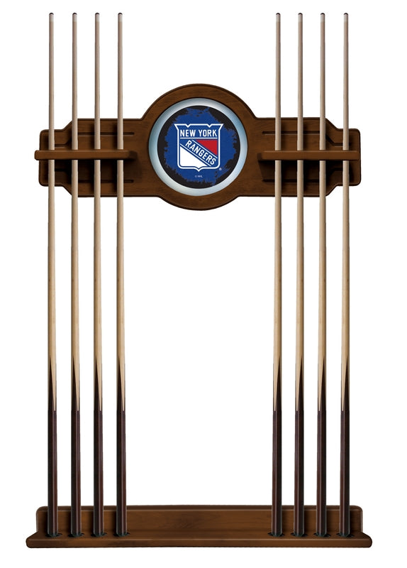New York Rangers Cue Rack in Chardonnay Finish by Holland Bar Stool; UPC: 071235436391