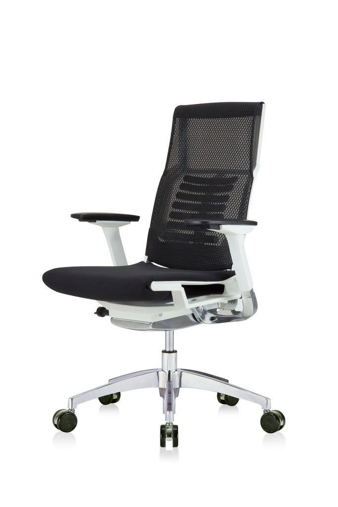 Eurotech Powerfit - White Frame, Mesh Back/ Fabric Seat, Black (Front Angle View)(