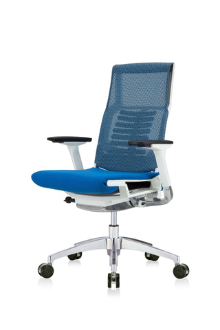 Eurotech Powerfit Task Chair in Blue Mesh/Fabric with White Frame (Front Angle View)