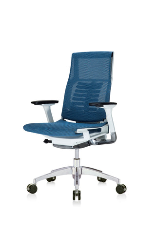 Eurotech Powerfit Task Chair in Blue Mesh with White Frame Front Angled View