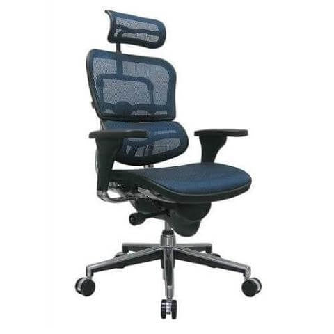 Eurotech ME7ERG Erghohuman Mesh Ergonomic Chair w/ Headrest ; Color: Blue Mesh/Chrome ; MPN: EUTME7ERGKM15