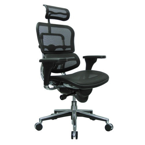 Eurotech ME7ERG Erghohuman Mesh Ergonomic Chair w/ Headrest ; Color: Black Mesh/Chrome ; MPN: ME7ERGW091