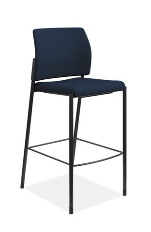 HON Accommodate Cafe Stool | Navy Fabric | Textured Black Frame | Armless ; UPC: 884128208940 ; Image 1