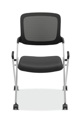 HON Assemble Mesh Back Nesting / Stacking Chair | Armless | Two Per Carton | Black Fabric | Black Mesh | Silver Frame ; UPC: 631530424990 ; Image 2