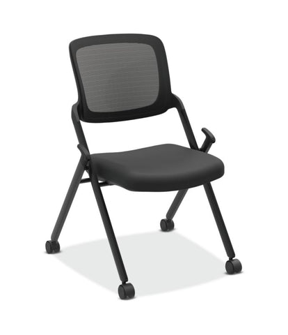 HON Assemble Mesh Back Nesting / Stacking Chair | Armless | Two Per Carton | Black Fabric | Black Mesh | Black Frame ; UPC: 089191453017 ; Image 1