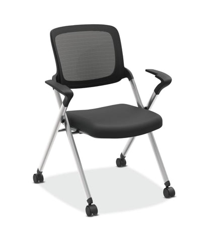 HON Assemble Mesh Back Nesting / Stacking Chair | Fixed Arms | Two Per Carton | Black Fabric | Black Mesh | Silver Frame ; UPC: 745123542333 ; Image 1