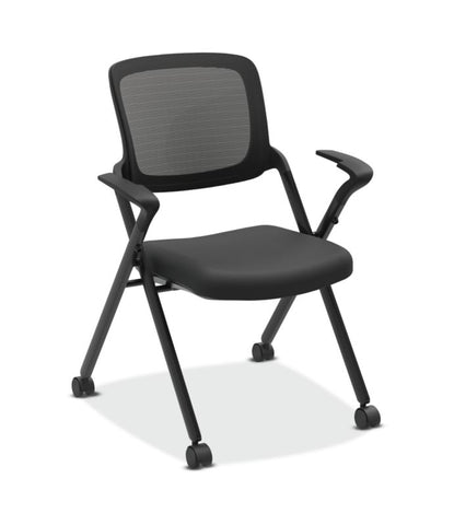 HON Assemble Mesh Back Nesting / Stacking Chair | Fixed Arms | Two Per Carton | Black Fabric | Black Mesh | Black Frame ; UPC: 089191454816 ; Image 1