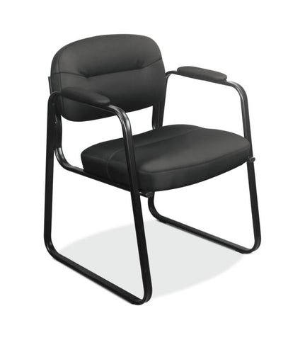 HON Sled Base Guest Chair | Fixed Arms | Black SofThread Leather ; UPC: 641128609708 ; Image 1