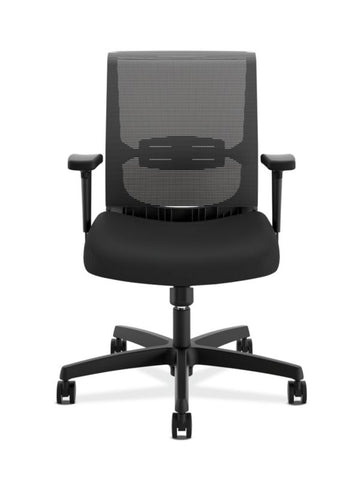 HON Convergence Task Chair | Swivel Tilt Control | Height-Adjustable Arms | Black Mesh and Seat Fabric ; UPC: 782986472209 ; Image 2