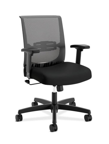 HON Convergence Task Chair | Swivel Tilt Control | Height-Adjustable Arms | Black Mesh and Seat Fabric ; UPC: 782986472209 ; Image 1