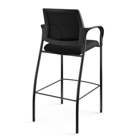 HON Ignition Cafe-Height 4-Leg Stool | Fixed Arms | Glides | Black ilira-Stretch Mesh Back | Black Seat Fabric | Black Frame ; UPC: 641128172561 ; Image 5