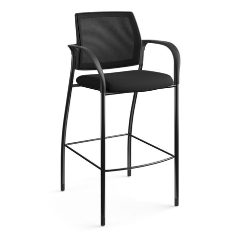 HON Ignition Cafe-Height 4-Leg Stool | Fixed Arms | Glides | Black ilira-Stretch Mesh Back | Black Seat Fabric | Black Frame ; UPC: 641128172561 ; Image 13