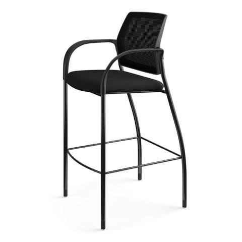 HON Ignition Cafe-Height 4-Leg Stool | Fixed Arms | Glides | Black ilira-Stretch Mesh Back | Black Seat Fabric | Black Frame ; UPC: 641128172561 ; Image 10