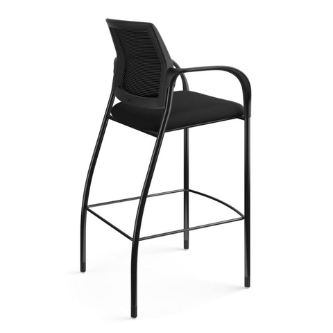 HON Ignition Cafe-Height 4-Leg Stool | Fixed Arms | Glides | Black ilira-Stretch Mesh Back | Black Seat Fabric | Black Frame ; UPC: 641128172561 ; Image 4