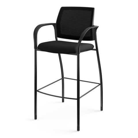 HON Ignition Cafe-Height 4-Leg Stool | Fixed Arms | Glides | Black ilira-Stretch Mesh Back | Black Seat Fabric | Black Frame ; UPC: 641128172561 ; Image 11