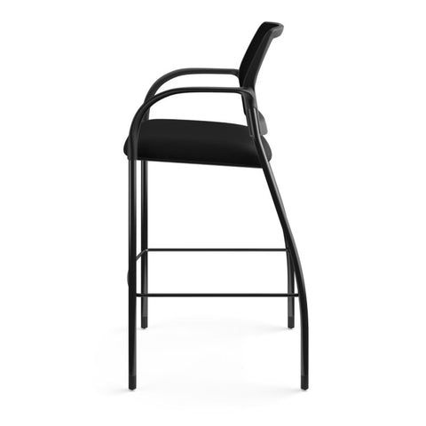 HON Ignition Cafe-Height 4-Leg Stool | Fixed Arms | Glides | Black ilira-Stretch Mesh Back | Black Seat Fabric | Black Frame ; UPC: 641128172561 ; Image 9