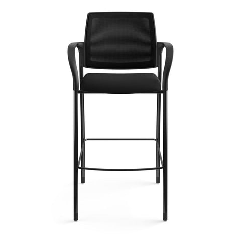 HON Ignition Cafe-Height 4-Leg Stool | Fixed Arms | Glides | Black ilira-Stretch Mesh Back | Black Seat Fabric | Black Frame ; UPC: 641128172561 ; Image 12