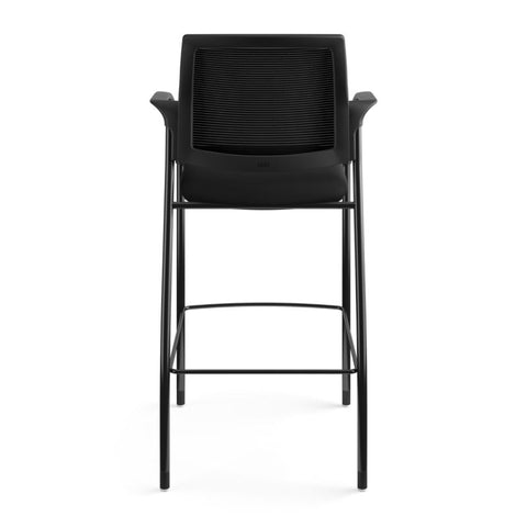 HON Ignition Cafe-Height 4-Leg Stool | Fixed Arms | Glides | Black ilira-Stretch Mesh Back | Black Seat Fabric | Black Frame ; UPC: 641128172561 ; Image 6