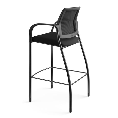 HON Ignition Cafe-Height 4-Leg Stool | Fixed Arms | Glides | Black ilira-Stretch Mesh Back | Black Seat Fabric | Black Frame ; UPC: 641128172561 ; Image 8