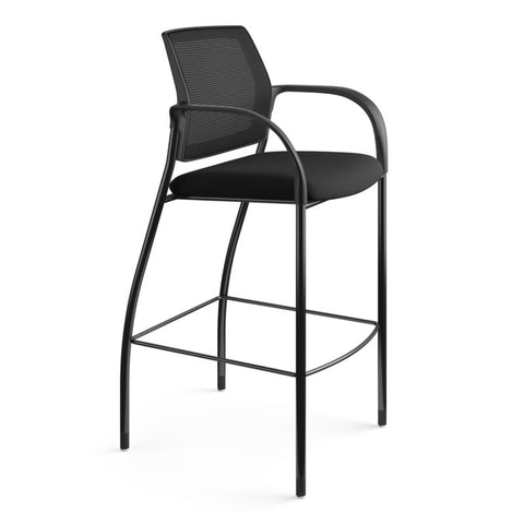 HON Ignition Cafe-Height 4-Leg Stool | Fixed Arms | Glides | Black ilira-Stretch Mesh Back | Black Seat Fabric | Black Frame ; UPC: 641128172561 ; Image 2