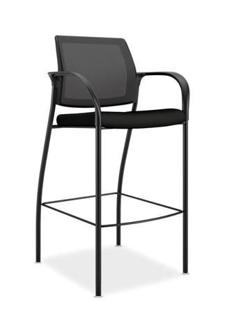 HON Ignition Cafe-Height 4-Leg Stool | Fixed Arms | Glides | Black ilira-Stretch Mesh Back | Black Seat Fabric | Black Frame ; UPC: 641128172561 ; Image 1