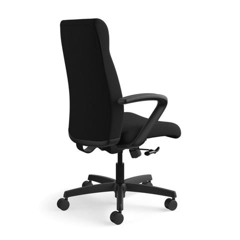 HON Ignition Executive High-Back Task Chair | Fixed Arms | Hard Casters | Upholstered Back | Black Fabric | Standard Base ; UPC: 089191140382 ; Image 4