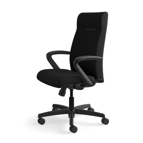 HON Ignition Executive High-Back Task Chair | Fixed Arms | Hard Casters | Upholstered Back | Black Fabric | Standard Base ; UPC: 089191140382 ; Image 10