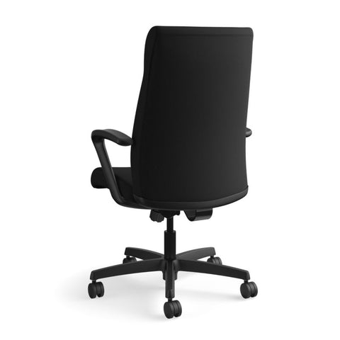 HON Ignition Executive High-Back Task Chair | Fixed Arms | Hard Casters | Upholstered Back | Black Fabric | Standard Base ; UPC: 089191140382 ; Image 7