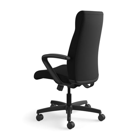 HON Ignition Executive High-Back Task Chair | Fixed Arms | Hard Casters | Upholstered Back | Black Fabric | Standard Base ; UPC: 089191140382 ; Image 8