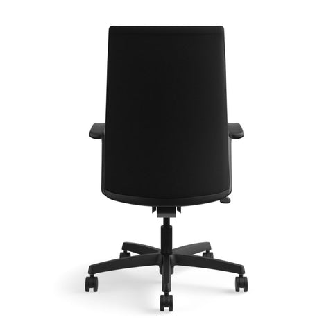 HON Ignition Executive High-Back Task Chair | Fixed Arms | Hard Casters | Upholstered Back | Black Fabric | Standard Base ; UPC: 089191140382 ; Image 6