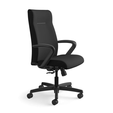 HON Ignition Executive High-Back Task Chair | Fixed Arms | Hard Casters | Upholstered Back | Black Fabric | Standard Base ; UPC: 089191140382 ; Image 2