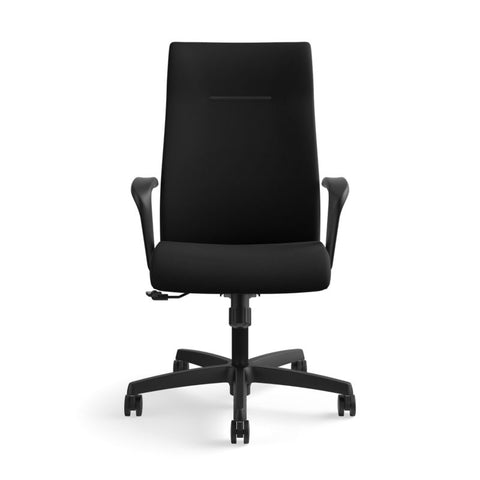 HON Ignition Executive High-Back Task Chair | Fixed Arms | Hard Casters | Upholstered Back | Black Fabric | Standard Base ; UPC: 089191140382 ; Image 12
