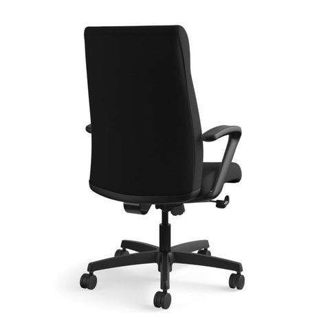 HON Ignition Executive High-Back Task Chair | Fixed Arms | Hard Casters | Upholstered Back | Black Fabric | Standard Base ; UPC: 089191140382 ; Image 5