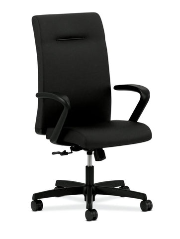 HON Ignition Executive High-Back Task Chair | Fixed Arms | Hard Casters | Upholstered Back | Black Fabric | Standard Base ; UPC: 089191140382 ; Image 1