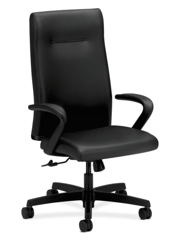 HON Ignition Executive High-Back Chair | Center-Tilt, Tension, Lock | Fixed Arms | Black Leather ; UPC: 089192115907 ; Image 1