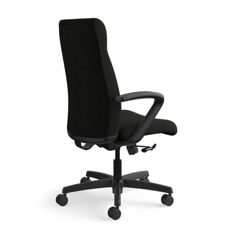 HON Ignition Executive High-Back Chair | Center-Tilt, Tension, Lock | Fixed Arms | Black Leather ; UPC: 089192115907 ; Image 4