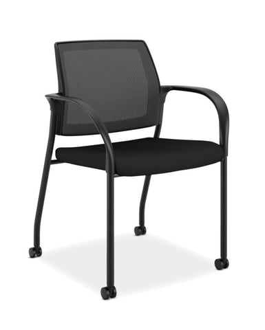 HON Ignition Multi-Purpose Stacking Chair | 4-Leg | Fixed Arms | All Surface Casters | Black ilira-Stretch Mesh Back | Black Seat Fabric | Black Frame ; UPC: 631530062109 ; Image 1