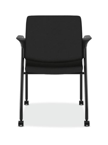 HON Ignition Multi-Purpose Stacking Chair | 4-Leg | Fixed Arms | All Surface Casters | Upholstered Back | Black Fabric | Black Frame ; UPC: 641128172448 ; Image 5