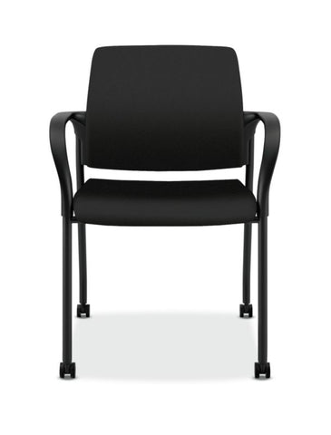 HON Ignition Multi-Purpose Stacking Chair | 4-Leg | Fixed Arms | All Surface Casters | Upholstered Back | Black Fabric | Black Frame ; UPC: 641128172448 ; Image 2