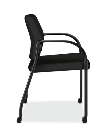 HON Ignition Multi-Purpose Stacking Chair | 4-Leg | Fixed Arms | All Surface Casters | Upholstered Back | Black Fabric | Black Frame ; UPC: 641128172448 ; Image 3