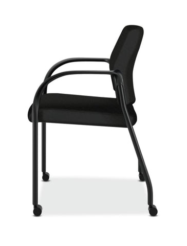 HON Ignition Multi-Purpose Stacking Chair | 4-Leg | Fixed Arms | All Surface Casters | Upholstered Back | Black Fabric | Black Frame ; UPC: 641128172448 ; Image 4