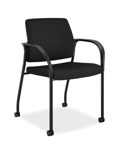 HON Ignition Multi-Purpose Stacking Chair | 4-Leg | Fixed Arms | All Surface Casters | Upholstered Back | Black Fabric | Black Frame ; UPC: 641128172448 ; Image 1