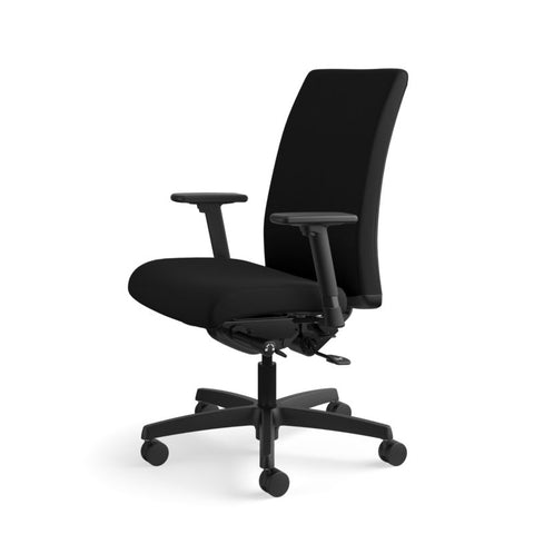HON Ignition Mid-Back Task Chair | Synchro-Tilt, Back Angle, Tension, Multi-Position Lock, Seat Glide | Adjustable Arms | Black Fabric ; UPC: 631530316219 ; Image 10