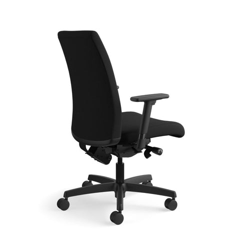HON Ignition Mid-Back Task Chair | Synchro-Tilt, Back Angle, Tension, Multi-Position Lock, Seat Glide | Adjustable Arms | Black Fabric ; UPC: 631530316219 ; Image 4