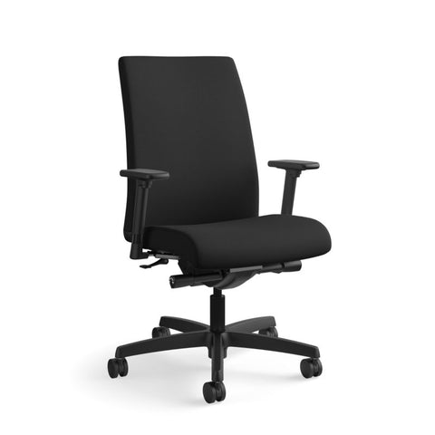 HON Ignition Mid-Back Task Chair | Synchro-Tilt, Back Angle, Tension, Multi-Position Lock, Seat Glide | Adjustable Arms | Black Fabric ; UPC: 631530316219 ; Image 13
