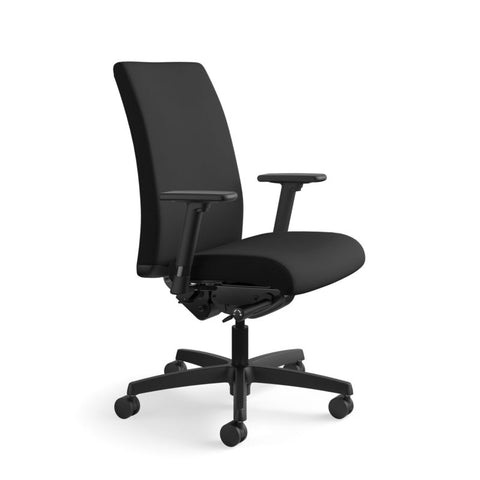 HON Ignition Mid-Back Task Chair | Synchro-Tilt, Back Angle, Tension, Multi-Position Lock, Seat Glide | Adjustable Arms | Black Fabric ; UPC: 631530316219 ; Image 2